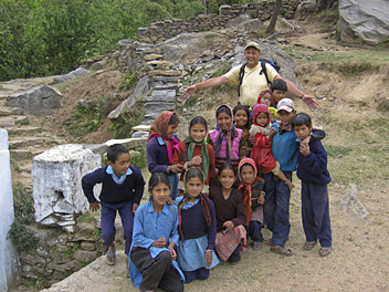 Fred Triep with Indian School Class